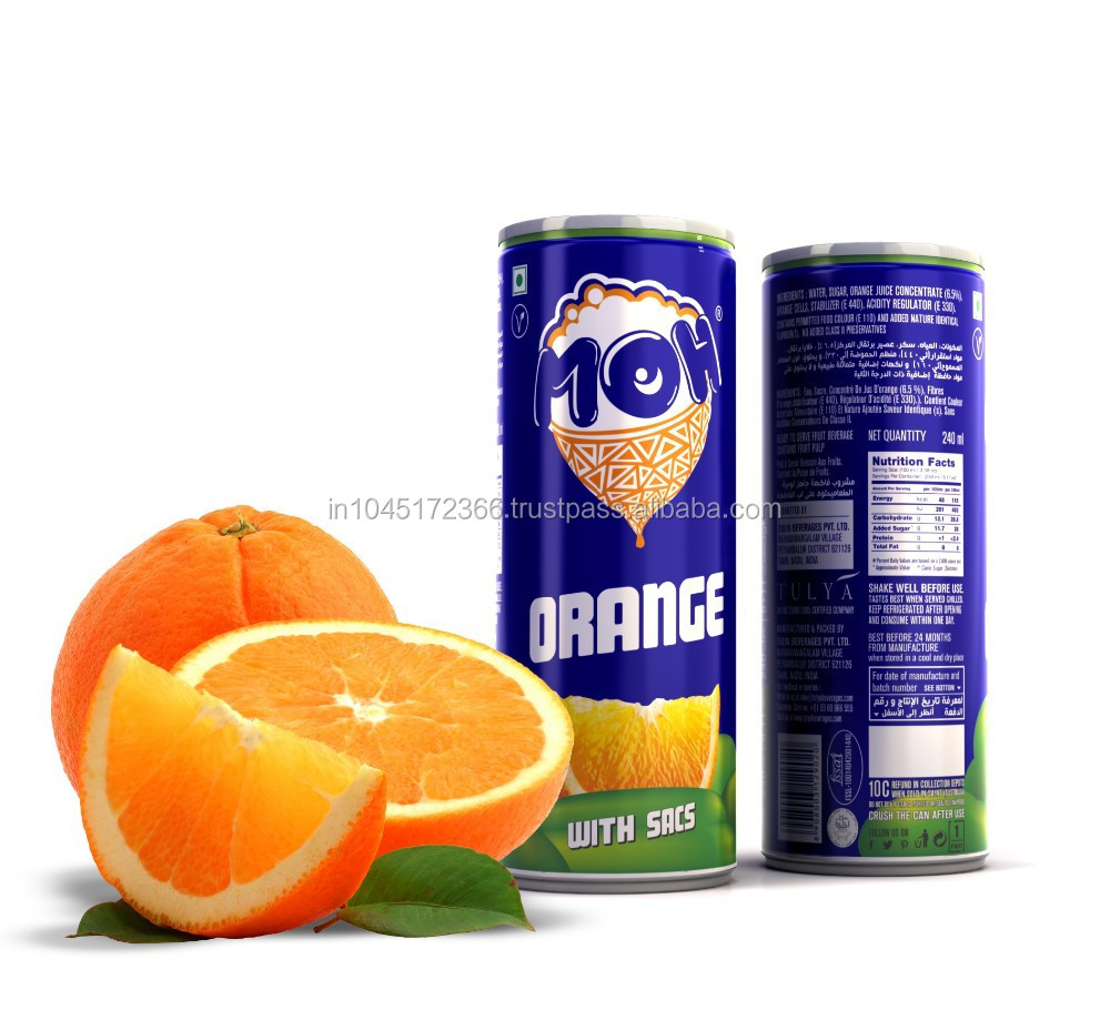 "RICH BRAZILLIAN ORANGE JUICE DRINK WITH ORANGE SACS - BRAND NAME ""MOH"""