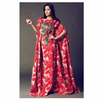 Red Linen Print Embroidered Kaftan