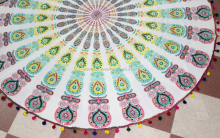 Indian mandala Ethnic round white Floral Hippy Cotton Fabric Tapestry.Twin Size Tapestry