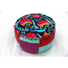 Velvet home use Floral Round Pouf Wholesale