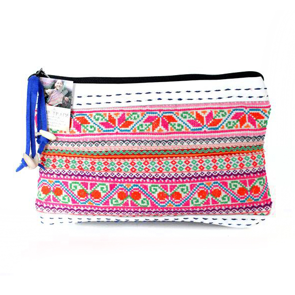 Hmong Hill Tribe Vintage Leather Clutch - White