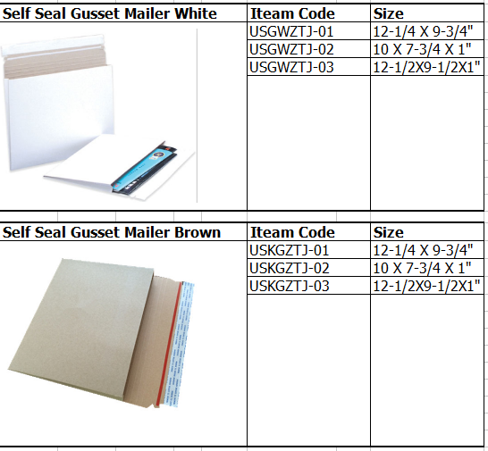 self seal gusseted expands mailers