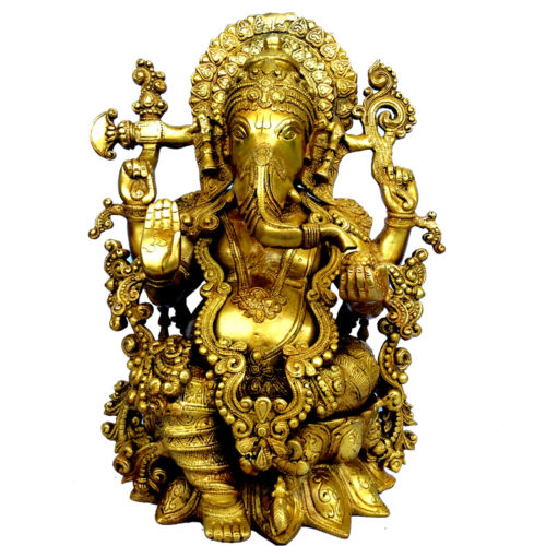 Glorious Statue of Lord Ganesha Made in Brass Metal For Home Temple and Decor