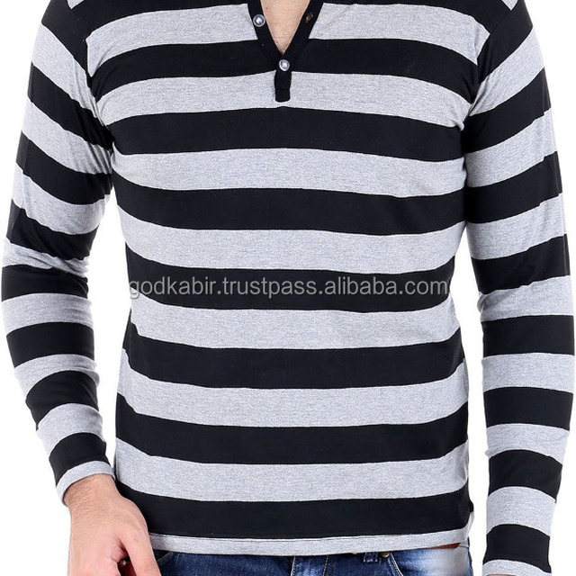 Modern design base new stylist look white and black colour mix Grey-Black Striped Henley T-Shirt/Branded company fancy mens wear