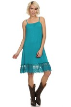 Spaghetti strap short dress Teal color sleeveless lace trim dress extender for women D-FW-7171-4