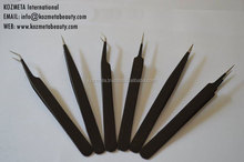 "High Quality Black Matt Finish Straight Pointed Eyelash Extension Tweezers in Size 5"" & 5.5"""