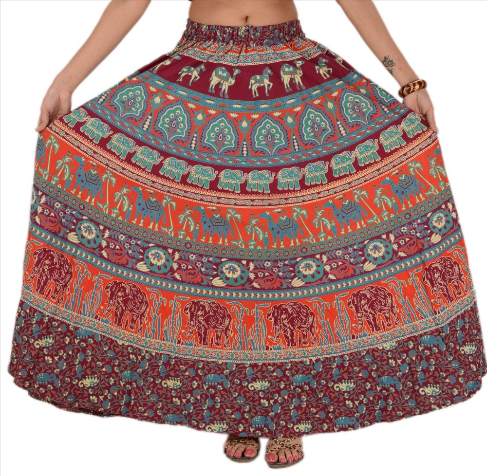 WOMEN NEW LONG SKIRT PAINTED MAXI COTTON ELASTIC GYPSY BOHEMIAN ANIMAL DESIGN