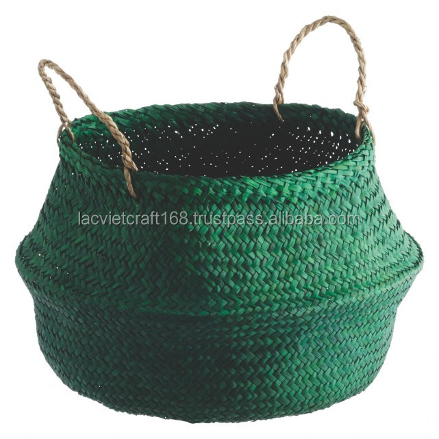 High quality best selling eco-friendly Blue seagrass belly baskets from Vietnam