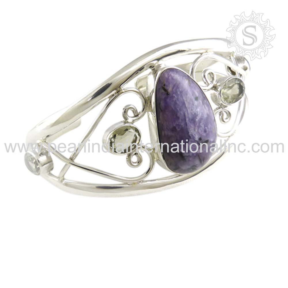 Spectacular Sugilite, Green Amethyst Gemstone Silver Jewelry 925 Sterling Silver Bangle Wholesale