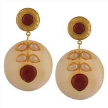 Zephyrr Traditional 18K Gold Plated Handmade Jadau Hanging Earrings with Onyx