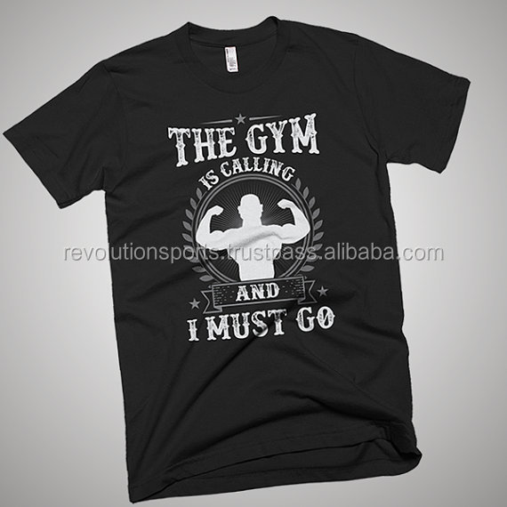 Printed Cotton Gym shirts / High Quality Gym Shirts With Customized Printing Designs of your on choice 2017