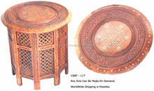 Indian sheesham wood round carved coffee table