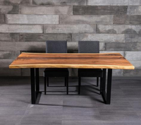 Suar Wood Free Form Live Edge Dining Table with Metal Legs