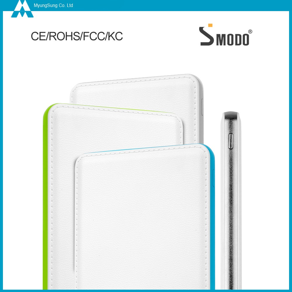 SMDOO 2017 hot sale silver leather wallet power bank 4000mah for Android phone