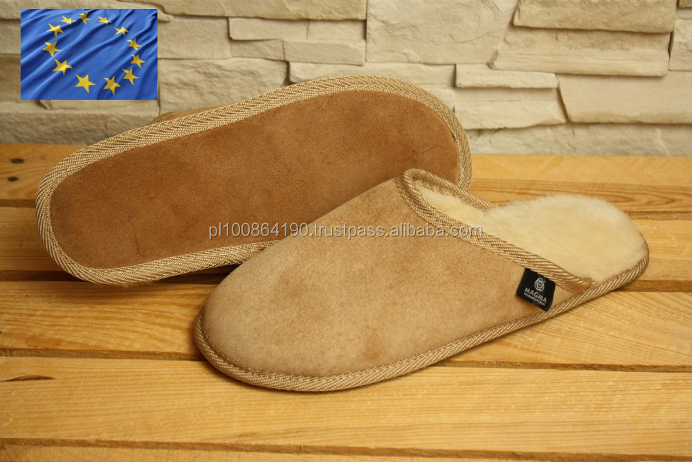 Genuine SHEEPSKIN SLIPPERS Natural LEATHER Home Shoes OEM sevice