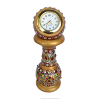 Handmade White Indian Marble Table Clock Watch