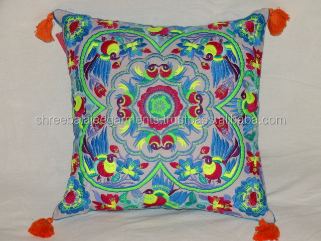 Outdoor Chair Cushion ,Suzani Design India Crafted Embroidered Pillow Cover ,wholesalers ethnic india cushion covers