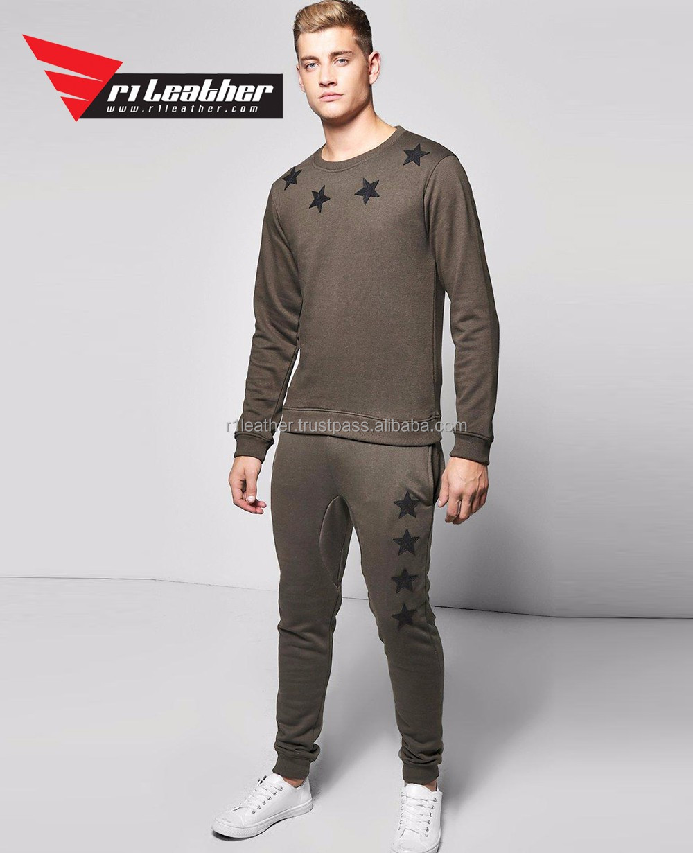 Grey men cotton sweatsuit sets elasticated waistband contrast trousers tracksuit sets