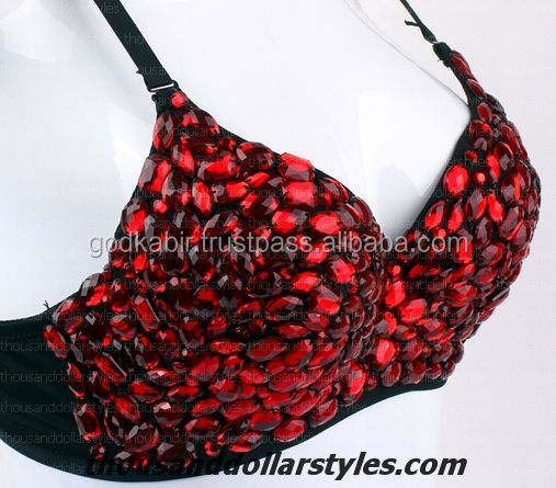 New Arrival Indian Women Handmade Working Gorgeous Red Sequins Beaded Bra