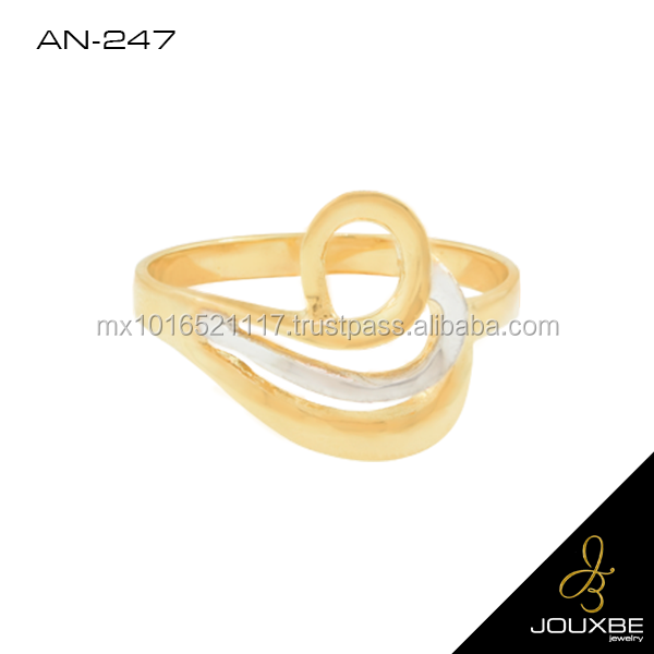 Gold plated women's ring fancy multi layers design with zirconia stone