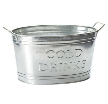 Galvanized Finish Oval Beer Tub | Wine | Beer | Beverage Cooler Ice