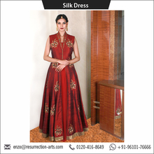 Maroon Raw Silk Anarkali Style Silk Dress with Front Open Jacket