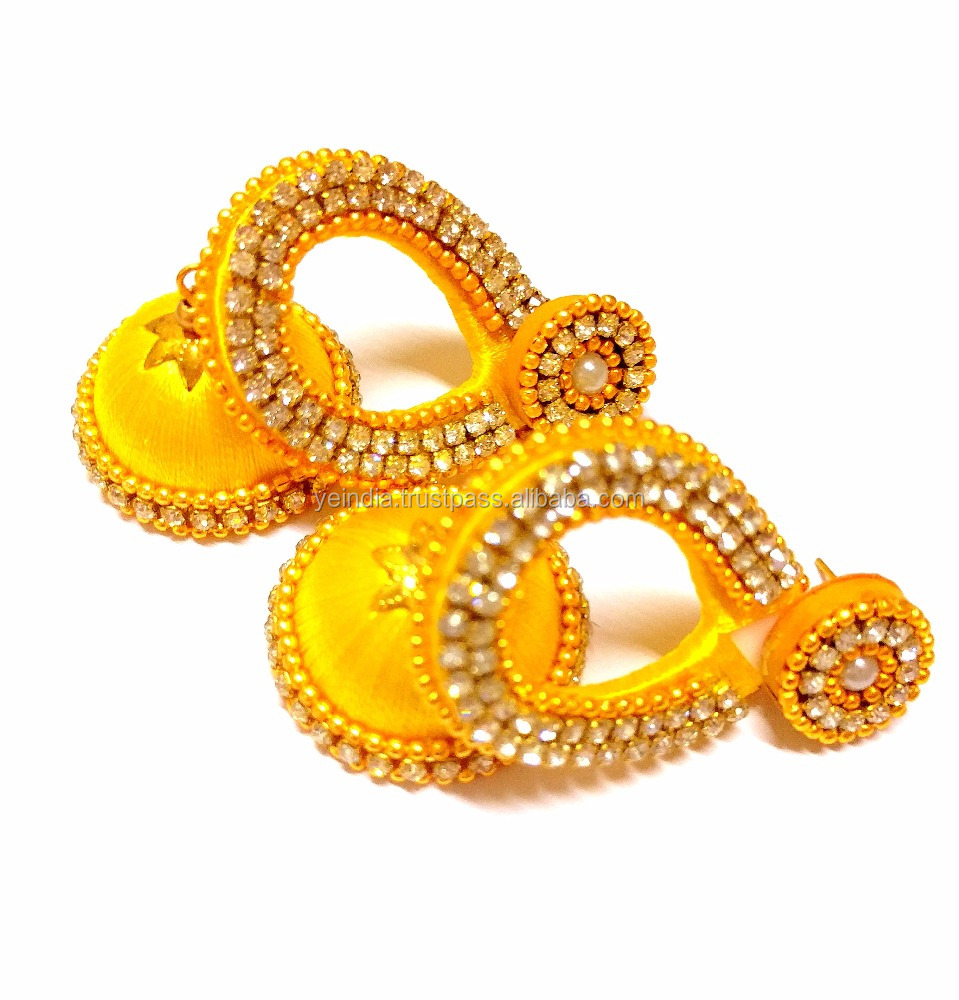 Stylish Handmade Silk Thread Jhumkas Earrings,Indian fashion jhumka earrings,factory direct fashion jewelry