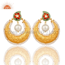 Gold Plated 925 Silver Traditional Polki Earrings Natural Pearl And Crystal Quartz Gemstone Earrings Indian Jewelry