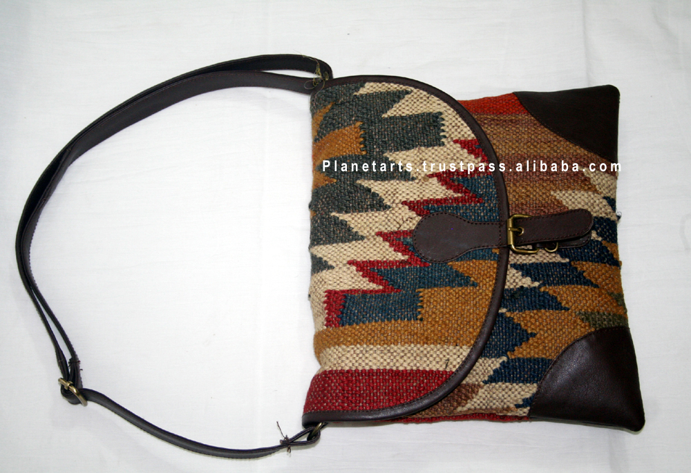 jute wool kilim leather bag