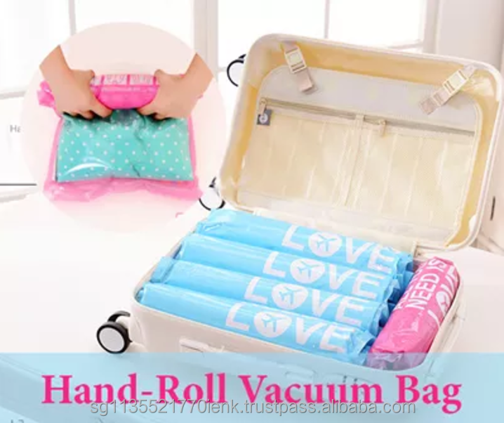 NACAI 2 pieces Hand-Roll Vacuum Bag Set, waterproof, reusable storage bags