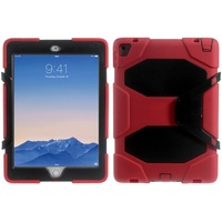 Wholesale Silicone Case for iPad,Military Duty Silicone PC Combo Cover for iPad Pro 9.7 with Clip Kickstand - Black / Red