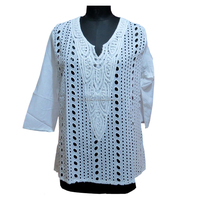 Embroidery Tops Lace Garments Ladies Tunics Dresses