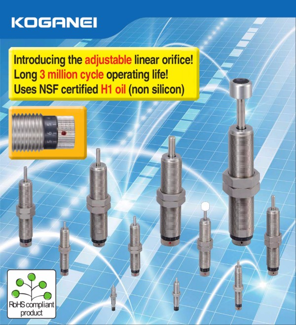 Highly-efficient and High-performance silent shock absorber with a wide variety of sizes made in Japan