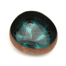 High quality best selling eco friendly blue lacquer coconut bowl from Viet Nam
