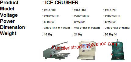 Ice Crusher, Shrink Wrap, Plotter Paper, PP Strap, Stretch Wrap, Circlip Bubble Wrap, Flour Mixer, Gloves, Foot Sealer