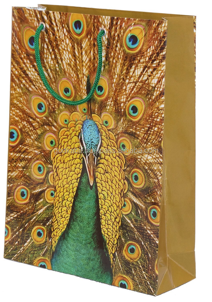 Peacock printed design home and shop useful Arrow Paper Bags Peacock Paper Bags /Best Art and decorative gift bag collection.