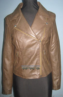 Women's distressed leather motorcycle jacket export items of pakistan