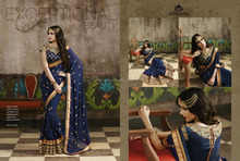 Saree of shaded net skirt & beautiful embroidery work in border & georgette pallu with beautiful embroidery work in blouse