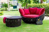 Luxury Synthetic PE Poly Rattan Sun Loungers Outdoor Furniture- Sunbed