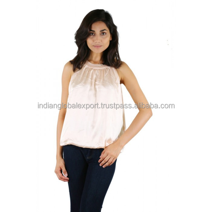 Satin peach party wear top for girls