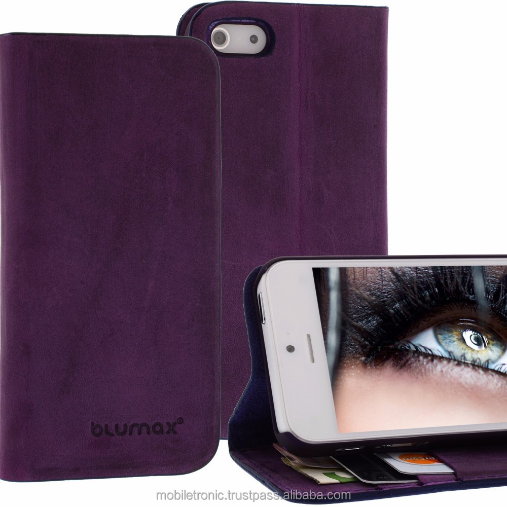 Geniune Leather Lucca Bookstyle case for iPhone 5S / 5 Antic Purple Cow Leather