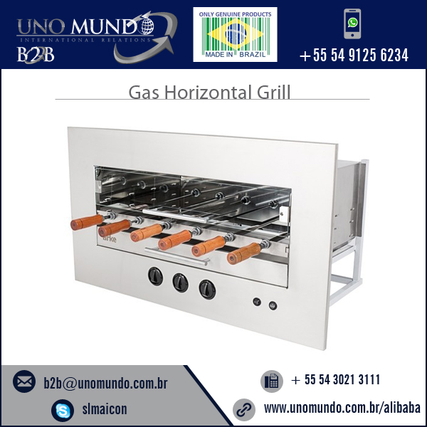 Highly Reliable Durable Quality Built-in Gas Horizontal Grill with 6 Skewers