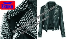 Women's Punk Spike Studded Shoulder Original Leather Black Cropped Coat Jacket