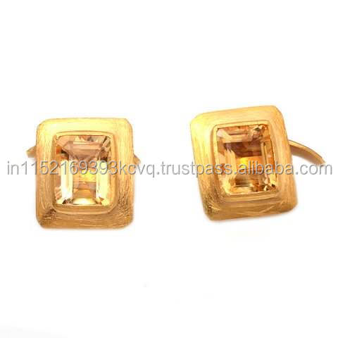 Natural Citrine Cufflinks For Men with 925 Sterling Silver Jewellery