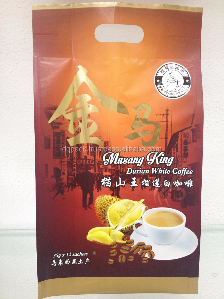 Durian flavour coffee packaging bag,4 side seal with side gusset for powder products,custom printable coffee bag pack