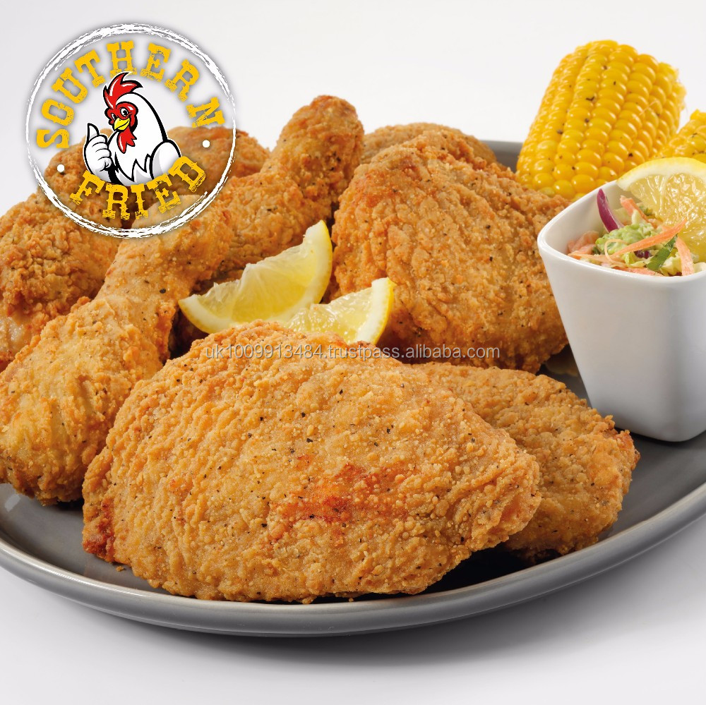 Halal Frozen Southern Fried Chicken Breasts, Drums and Thighs (Breaded)