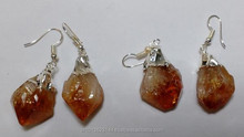 Citrine Point Earring, Wholesale Fashion Natural Crystal Stone Fishhook Earrings Citrine Earrings Jewelry of Gold Plated