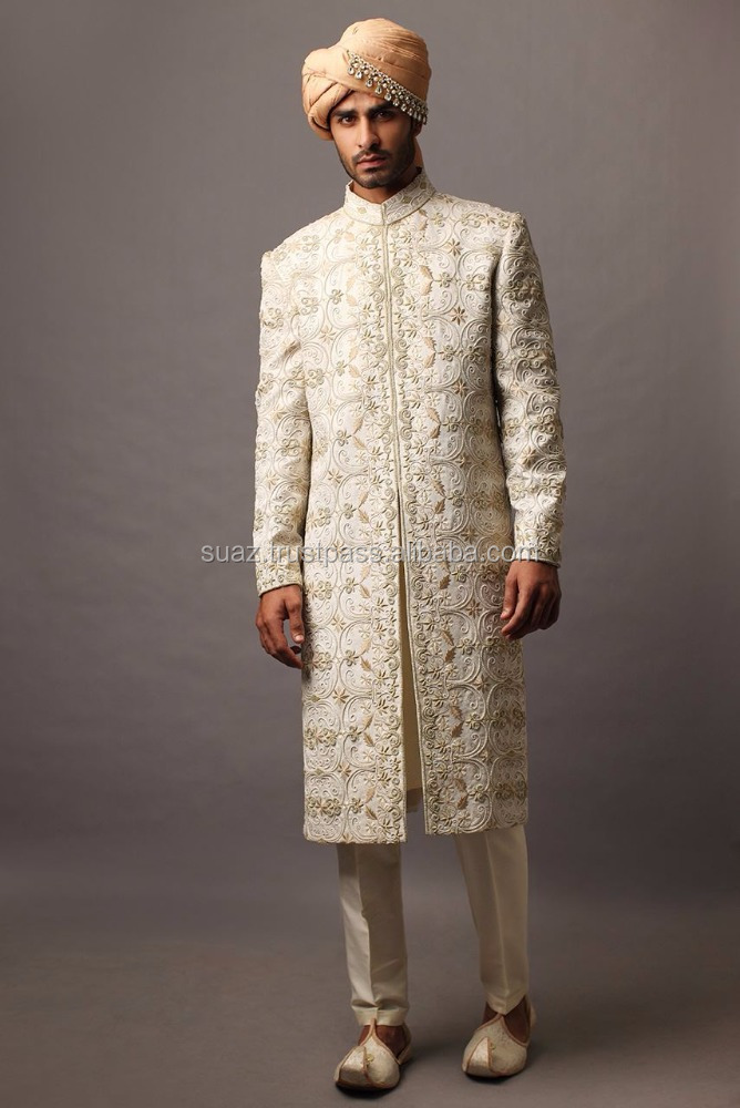 Pakistani Sherwani Coat Suits , Sherwani price , Sherwani designs , Luxury Sherwani , OffWhite indian designer mens sherwani ,