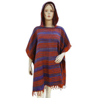 Red Woolen Poncho Top Sweater With Hood Winter Boho Wear Clothing One Size