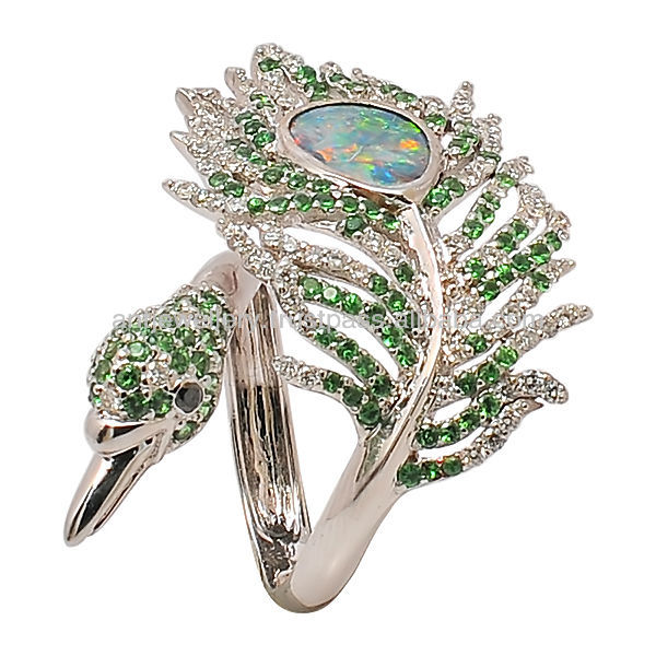 Peacock ring by 14K gold and tsavorite, diamond QDG289